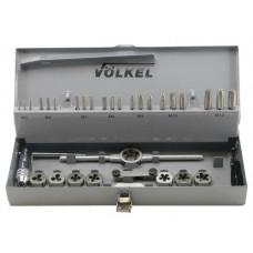 Набор метчиков 3 шт. и плашек М3-4-5-6-8-10-12+метчикодержатель+плашкодержатель; HSS-G.