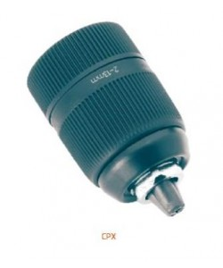 Сверлильный патрон с пластиковым корпусом, механизм блокировки и закаленные губки.