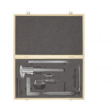 Набор штангенциркуля, микрометра, угольника, линейки, чертилки и циркуля